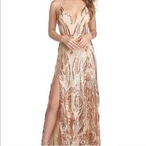 Windsor Rose Gold Sequin Scroll Dress